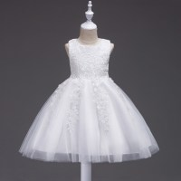 Wedding Flower Girl Dress Sleeveless Lace Floral Child