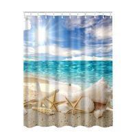 Waterproof Ocean Sea Beach Shell Print Bathroom Fabric ...