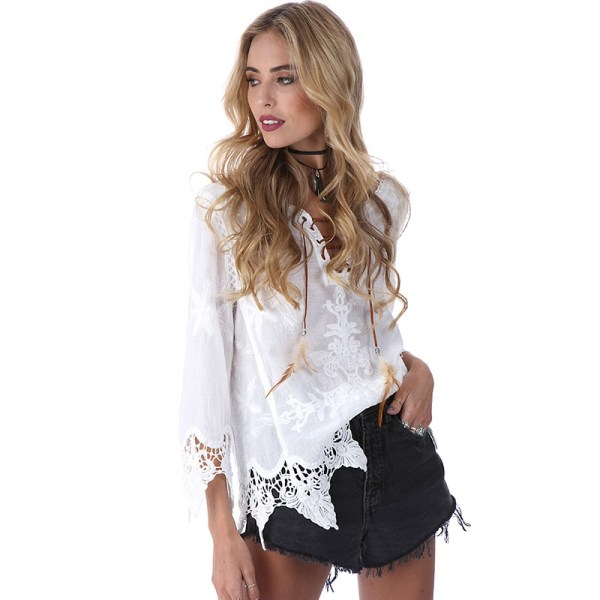 Women Hippie Boho Bell Sleeves Gypsy Festival Holiday Lace