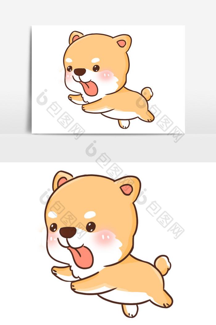 【卡通可愛奔跑柴田犬手繪插畫】圖片下載-包圖網