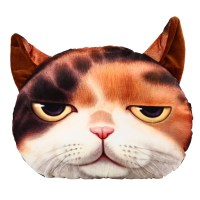 3D Cute Soft Plush Big Cat Face Throw Pillow Case Home ...