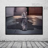 OIL PAINTING Art On Canvas Cat Or Tiger Abstract Huge Wall ...