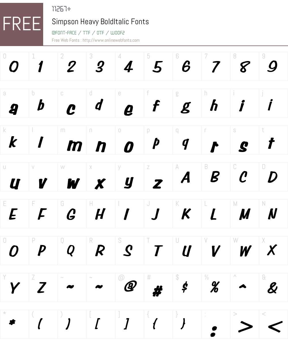 Simpson Heavy BoldItalic Altsys Fontographer 4.1 1/10/95