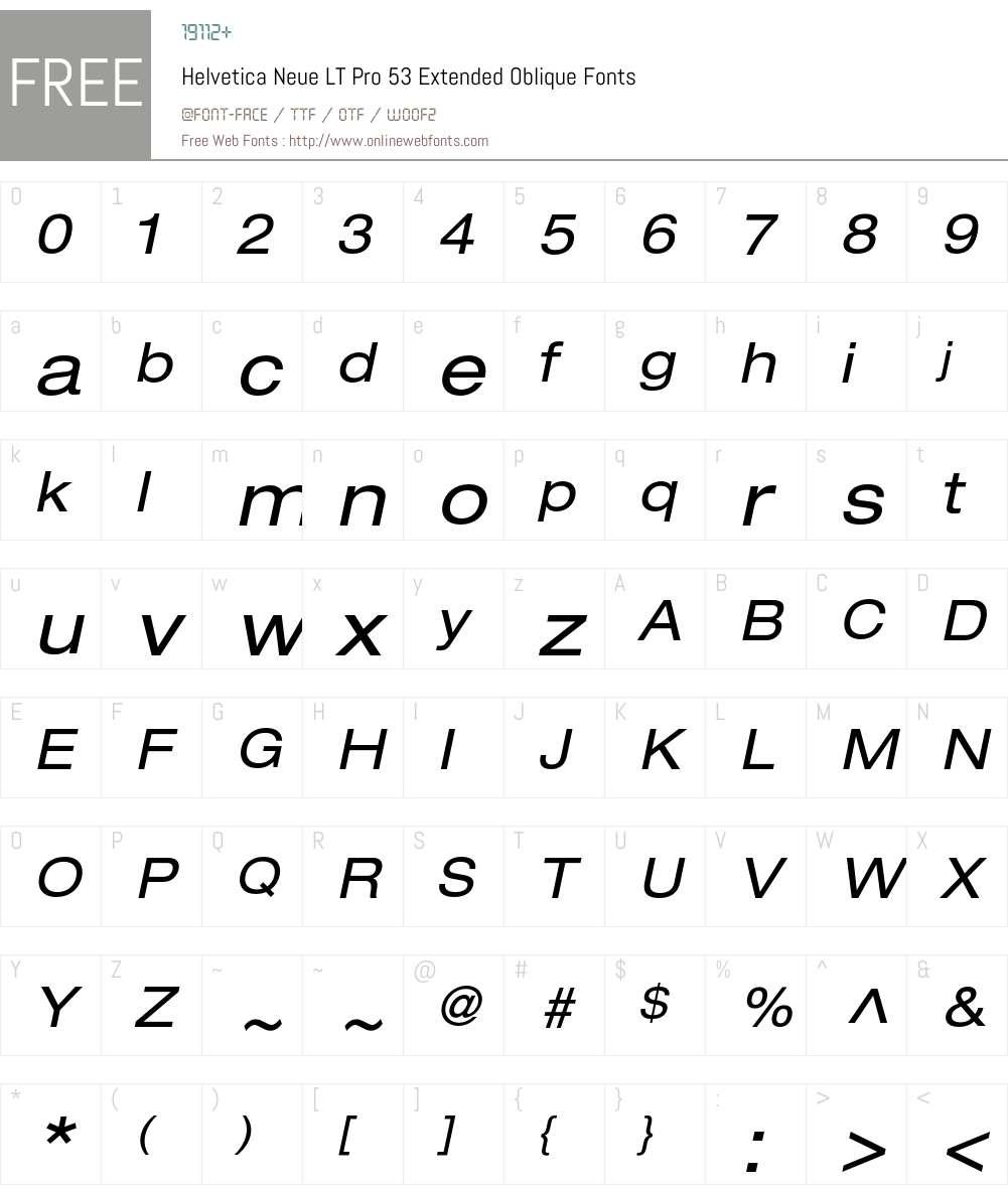 Helvetica Neue LT Pro 53 Extended Oblique 1.000;PS 001.000