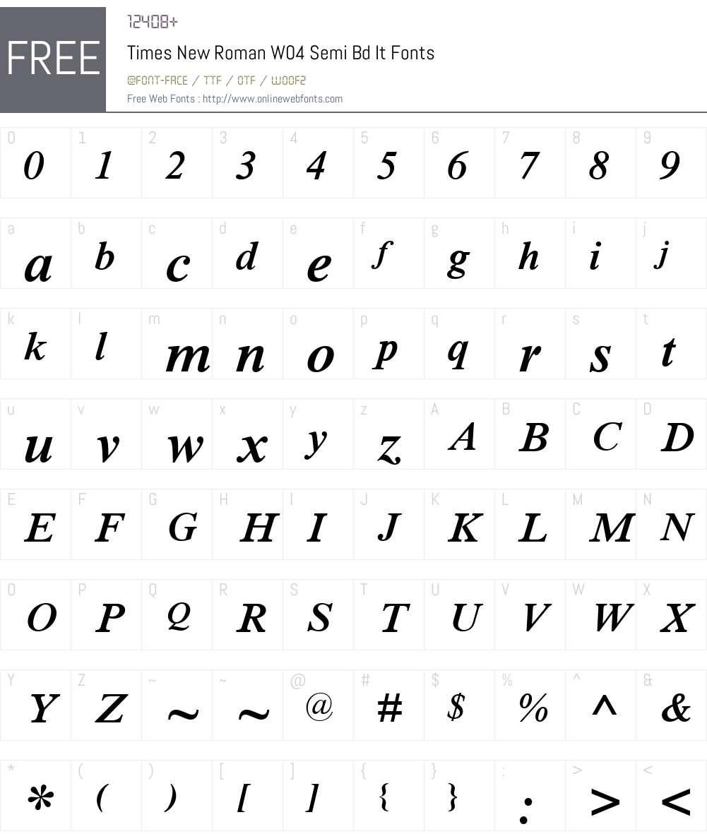 Times New Roman W04 Semi Bd It 1.1 Fonts Free Download
