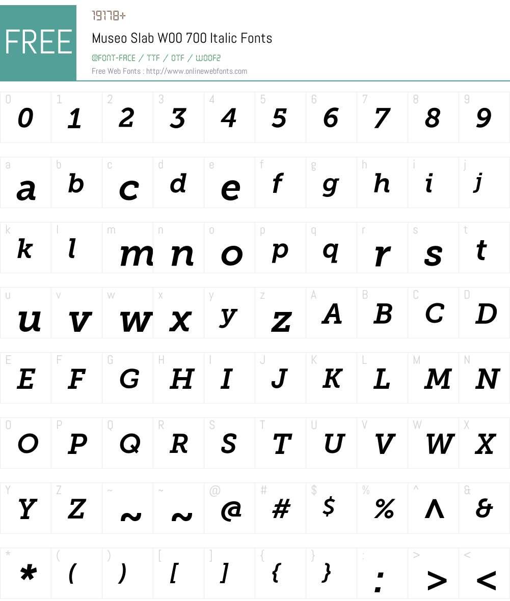 Museo Slab W00 700 Italic 1.00 Fonts Free Download
