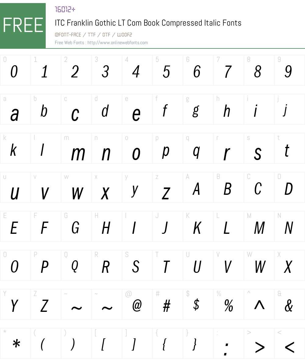 ITC Franklin Gothic LT Com Book Compressed Italic 2.00