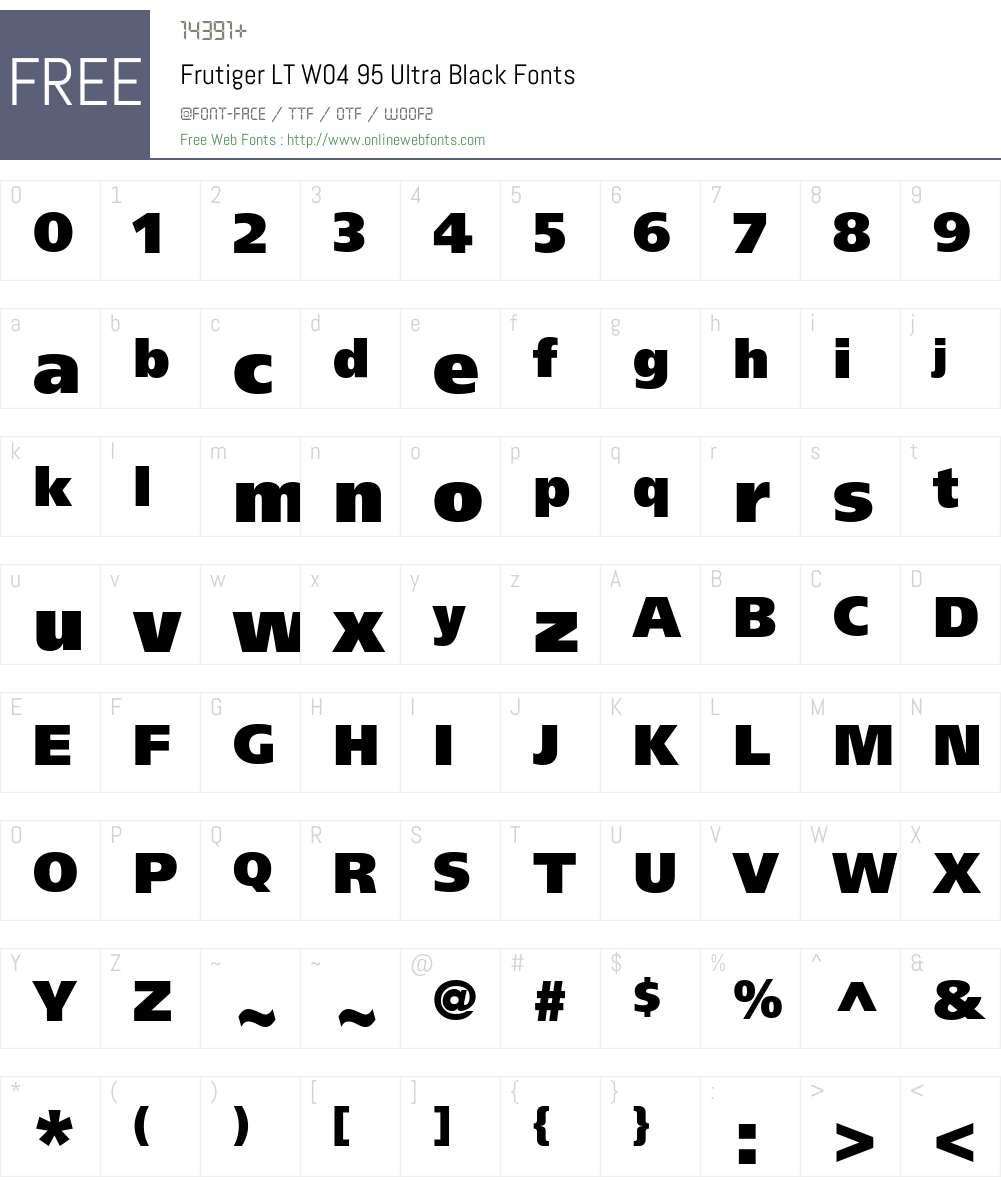 Frutiger LT W04 95 Ultra Black 1.00 Fonts Free Download