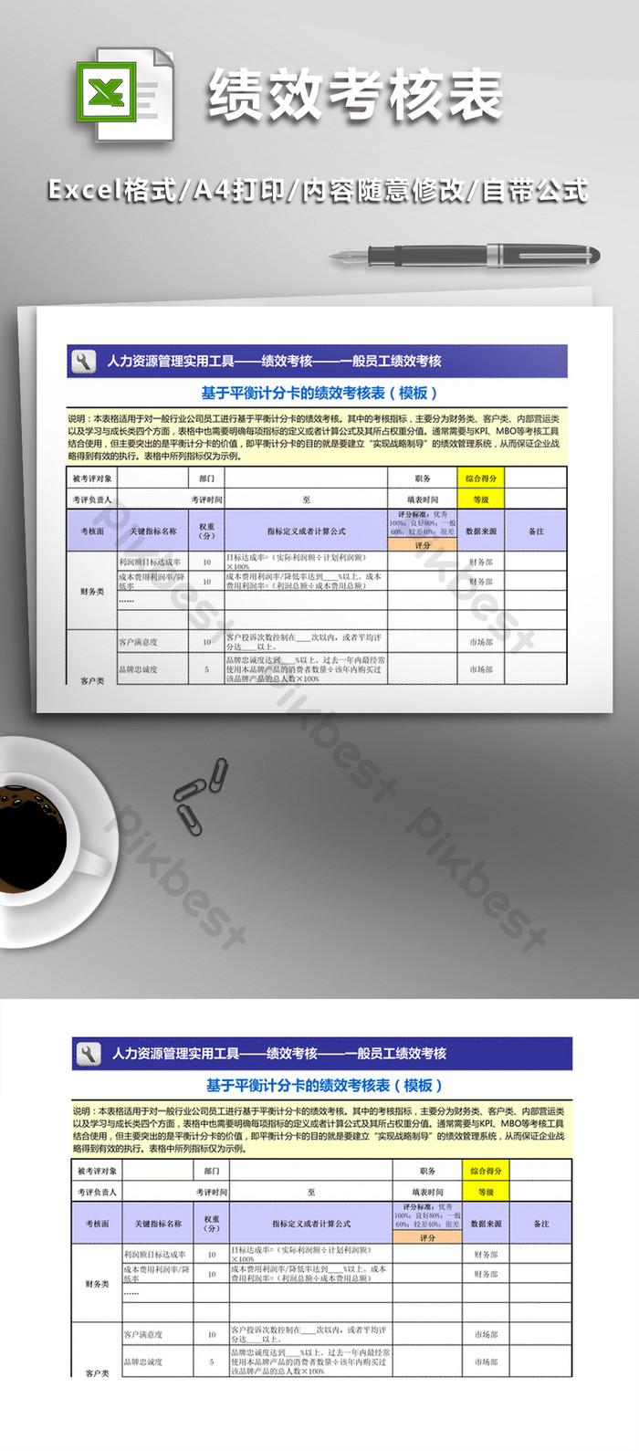 基於平衡計分卡的績效考核表(模板)| XLS Excel模板素材免費下載 - Pikbest