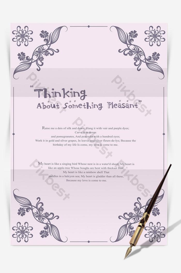 紫色歐式邊框ai信紙背景模板 | Word素材DOC免費下載 - Pikbest