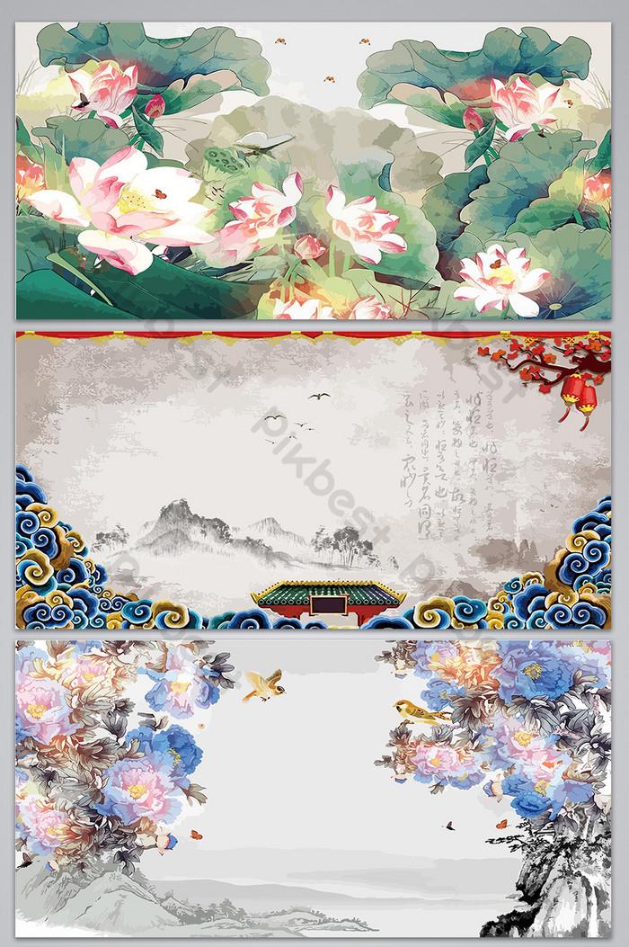 復古中國風手繪花卉設計海報背景圖 | 背景素材AI免費下載 - Pikbest