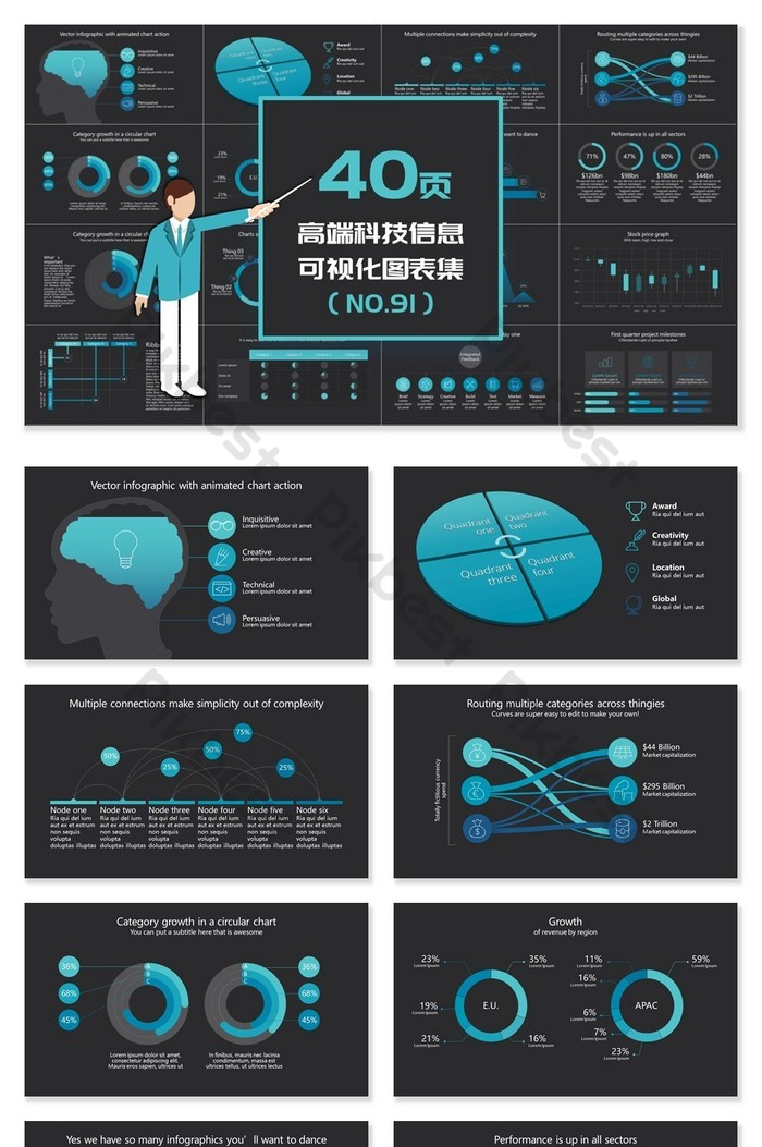 40頁高端科技資訊視覺化PPT圖表   PowerPoint素材PPTX免費下載 - Pikbest