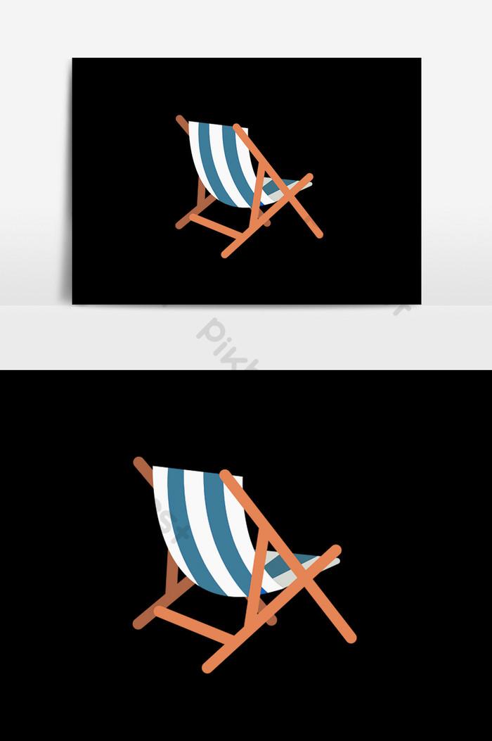 air travel beach chairs bamboo directors chair cartoon flat element illustration template psd free