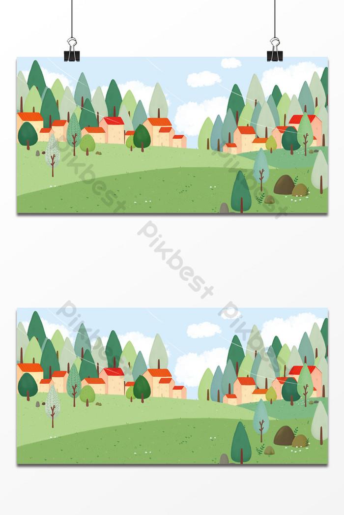 手繪卡通鄉村遊玩活動設計背景  PSD 背景素材免費下載 - Pikbest