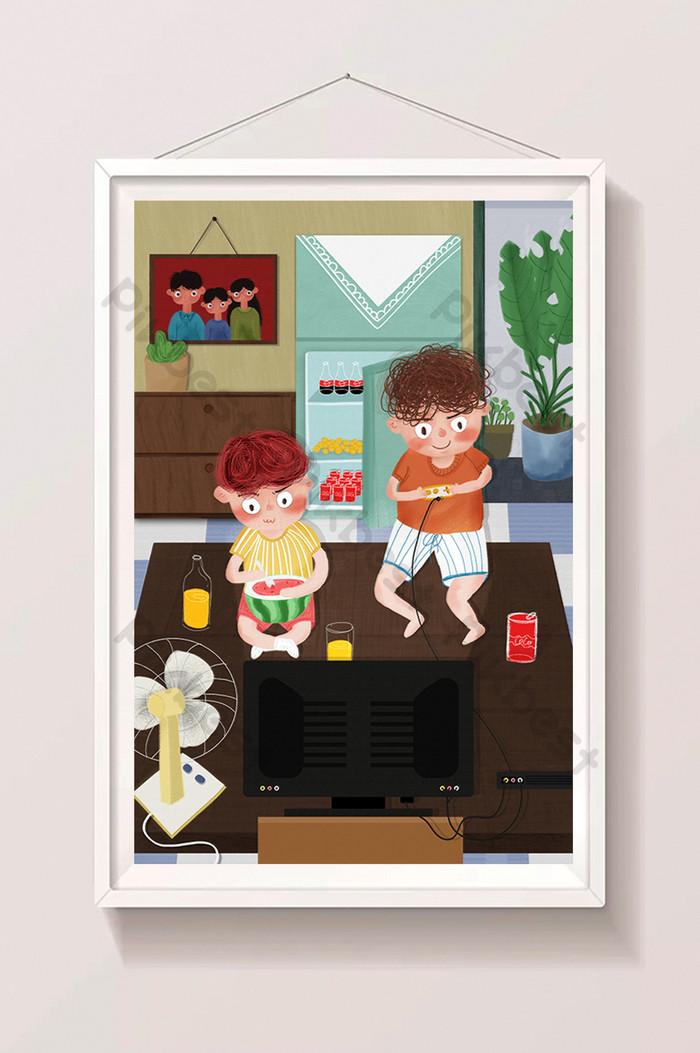 Cartoon Fresh Summer Vacation At Home Eating Watermelon Children Illustration Illustration Psd Free Download Pikbest