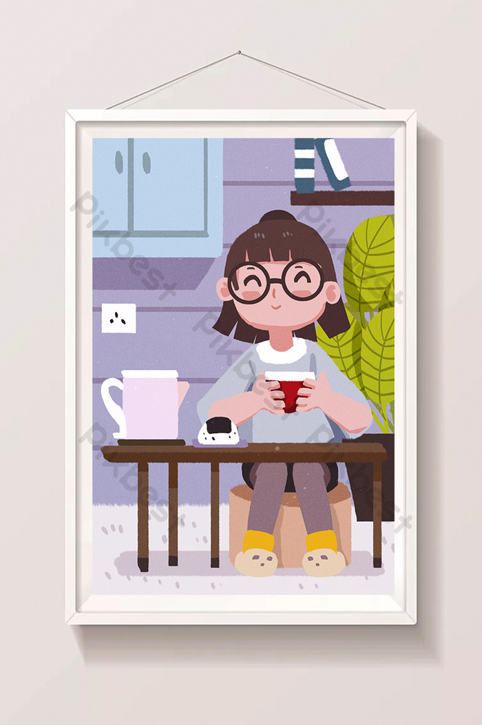 Casual Cartoon Summer Vacation Student Having Afternoon Tea At Home Illustration Psd Free Download Pikbest