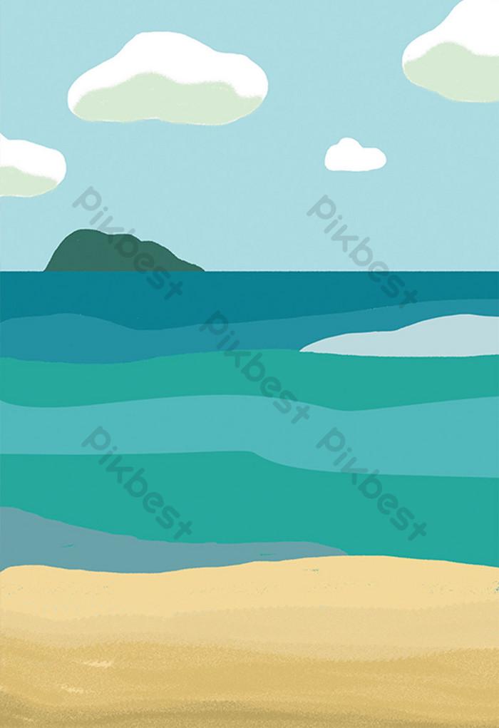 Background Laut Kartun : background, kartun, Cartoon, Seascape, Illustration, Background, Download, Pikbest