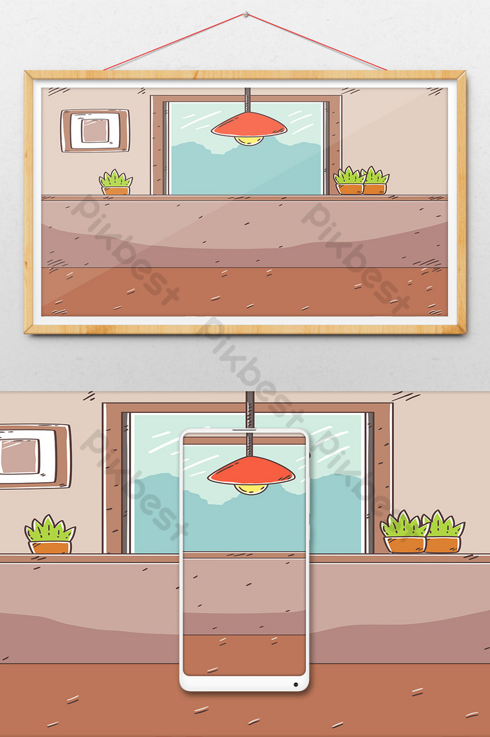 Cartoon Simple Living Room Background Image Illustration Ai Free Download Pikbest