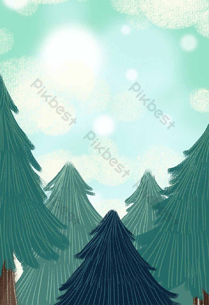Background Animasi Hutan : background, animasi, hutan, Green, Style, Forest, Background, Image, Illustration, Download, Pikbest