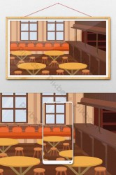 Cartoon restaurant bar interior scene illustration background Illustration PSD Free Download Pikbest