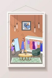 Cartoon female life shopping clothing store buying clothes illustration Illustration AI Free Download Pikbest