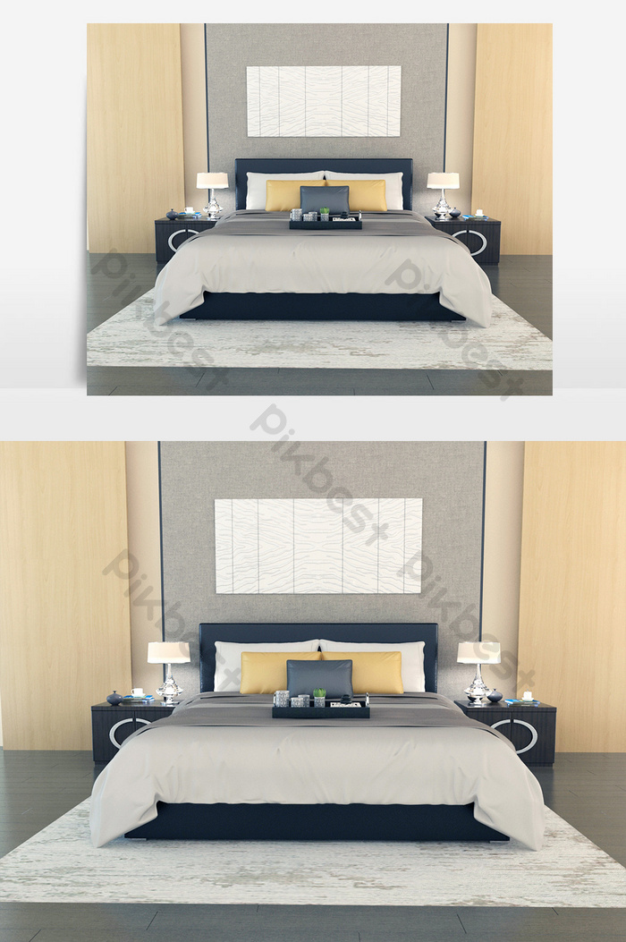 White Double Bed Gray Bed Linen Black Solid Wood Bedside Table Decors 3d Models Max Free Download Pikbest