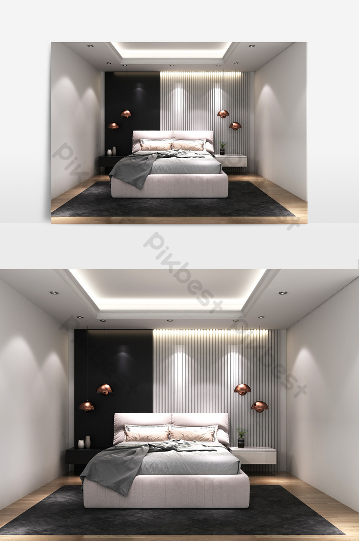Simple Bedroom Bed Combination Model Decors 3d Models Max Free Download Pikbest
