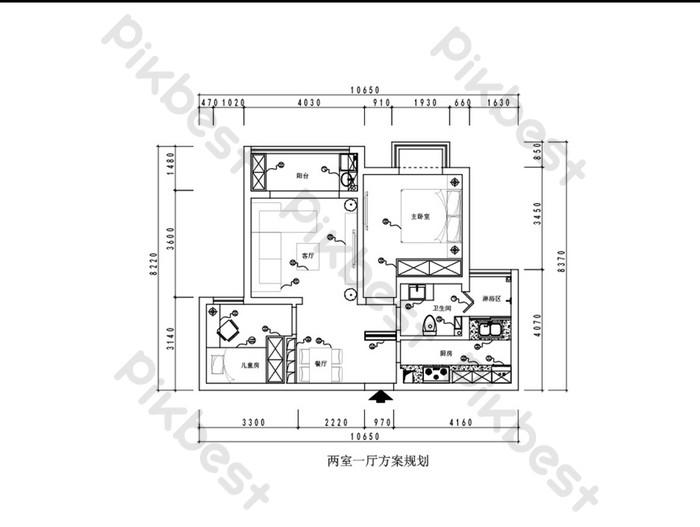 Dessin Cao D Une Maison Moderne Avec Deux Chambres Et Un Salon Dwg Decoration Et Modele Gratuit Pikbest