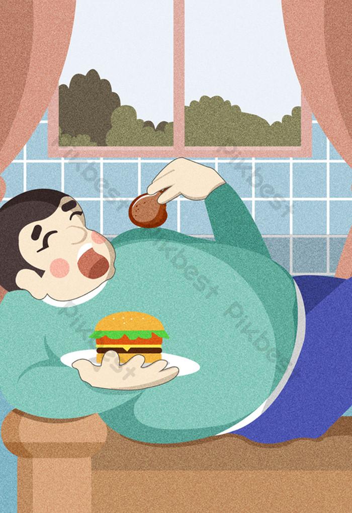 Gambar Orang Malas : gambar, orang, malas, Cartoon, Eating, Something, Illustration, Download, Pikbest
