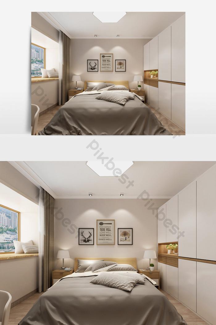 北歐風舒適臥室設計| MAX裝飾·模型素材免費下載 - Pikbest