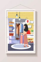 Cartoon wardrobe buying clothes shopping list cart illustration Illustration AI Free Download Pikbest