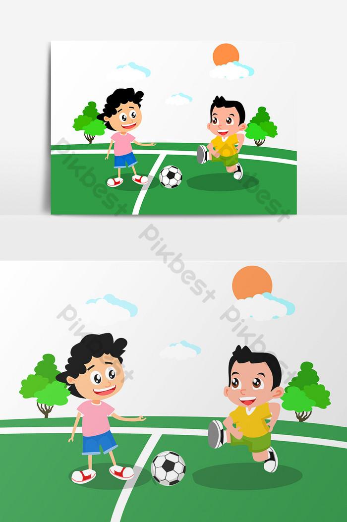 Animasi Anak Bermain : animasi, bermain, Kartun, Musim, Panas, Bermain, Elemen, Bentuk, Sepak, Grafik, Percuma, Turun, Pikbest