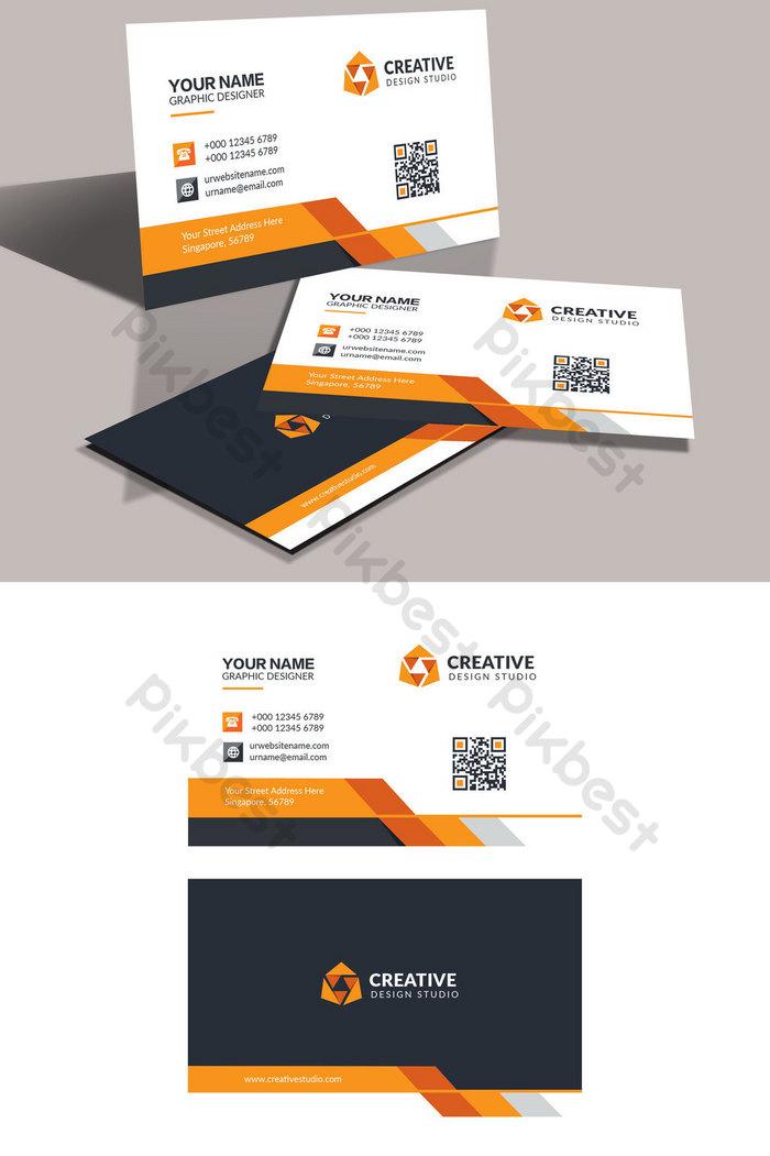 創意時尚橙色人力資源名片設計 | 素材PSD免費下載 - Pikbest
