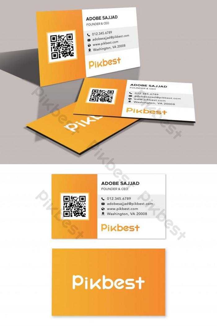 橙色公司QR碼名片模板| PSD 素材免費下載 - Pikbest