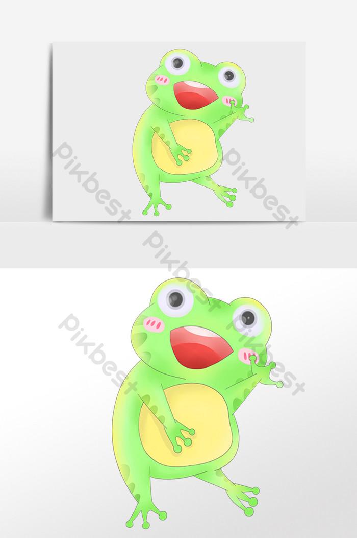 手繪卡通綠色可愛小青蛙插畫  PSD 元素素材免費下載 - Pikbest