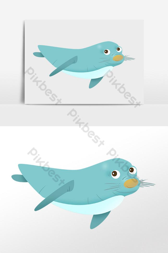 手繪海洋生物水生物綠色海豚插畫   元素素材PSD免費下載 - Pikbest