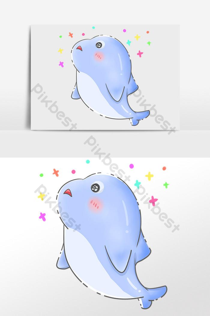 手繪海洋水生物動物卡通海豚插畫   元素素材PSD免費下載 - Pikbest
