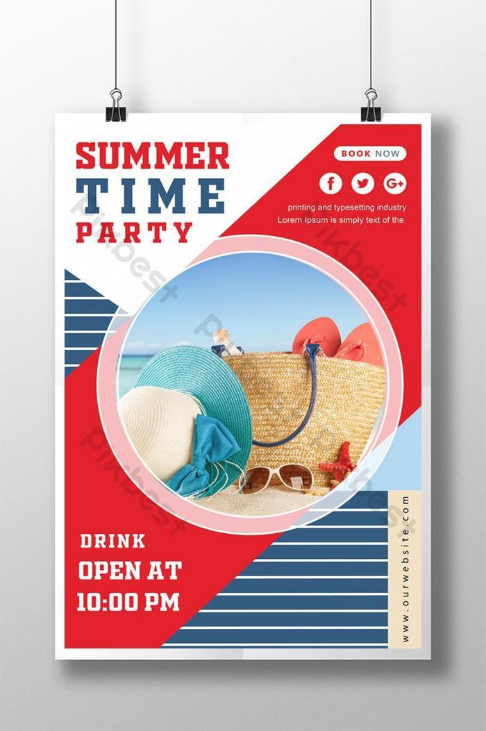 紅色夏日聚會海報 | 素材AI免費下載 - Pikbest