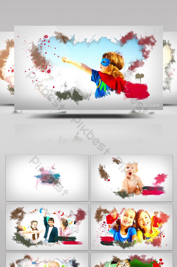 多彩水墨渲染兒童家庭相冊展示AE模板| AEP 視頻素材免費下載 - Pikbest