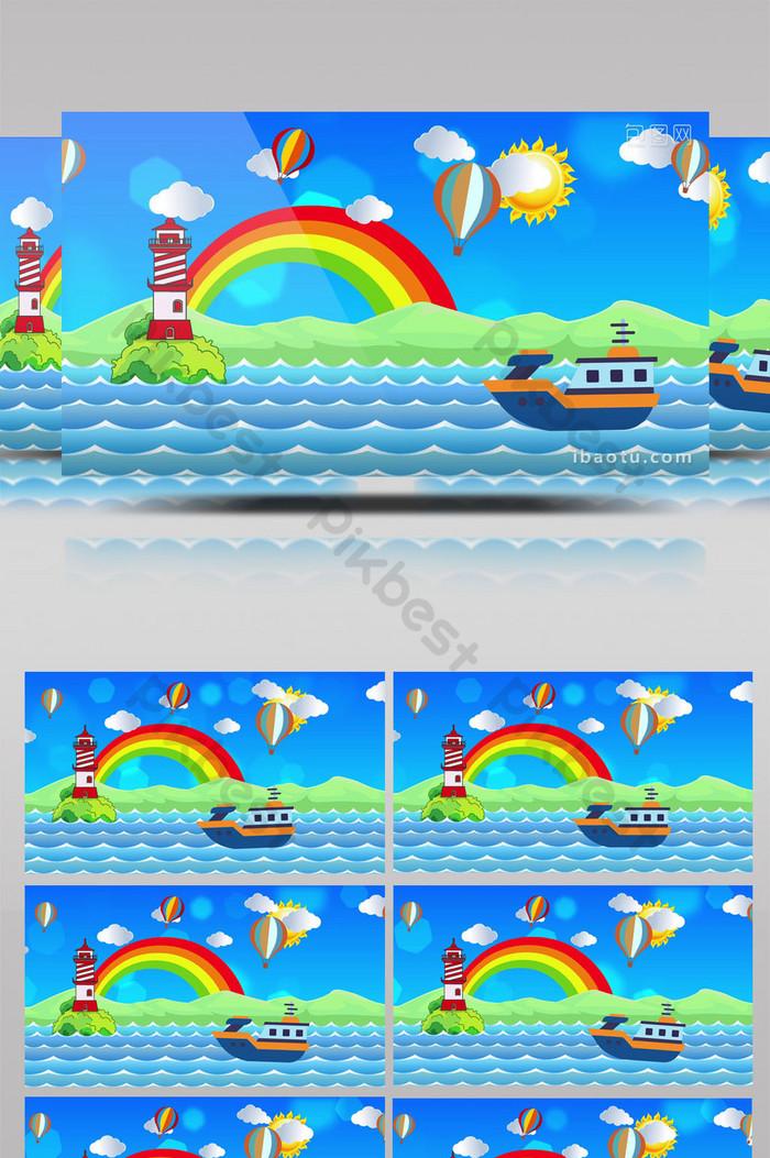 Background Laut Kartun : background, kartun, Cartoon, Sailing, Background, Video, Download, Pikbest