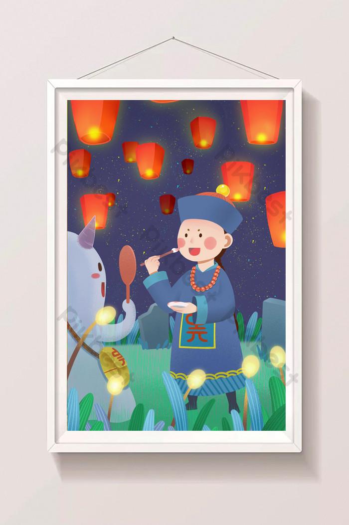 中元鬼節七月半傳統節日殭屍幽靈孔明燈插畫| PSD 插畫素材免費下載 - Pikbest