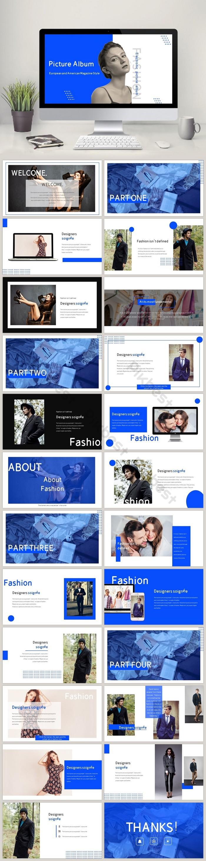 時尚歐美雜誌風文藝畫冊PPT模板| PPTX PowerPoint素材免費下載 - Pikbest