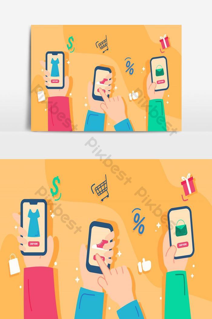 平面設計概念電子商務卡通手中的插圖在線商店  AI 元素素材免費下載 - Pikbest