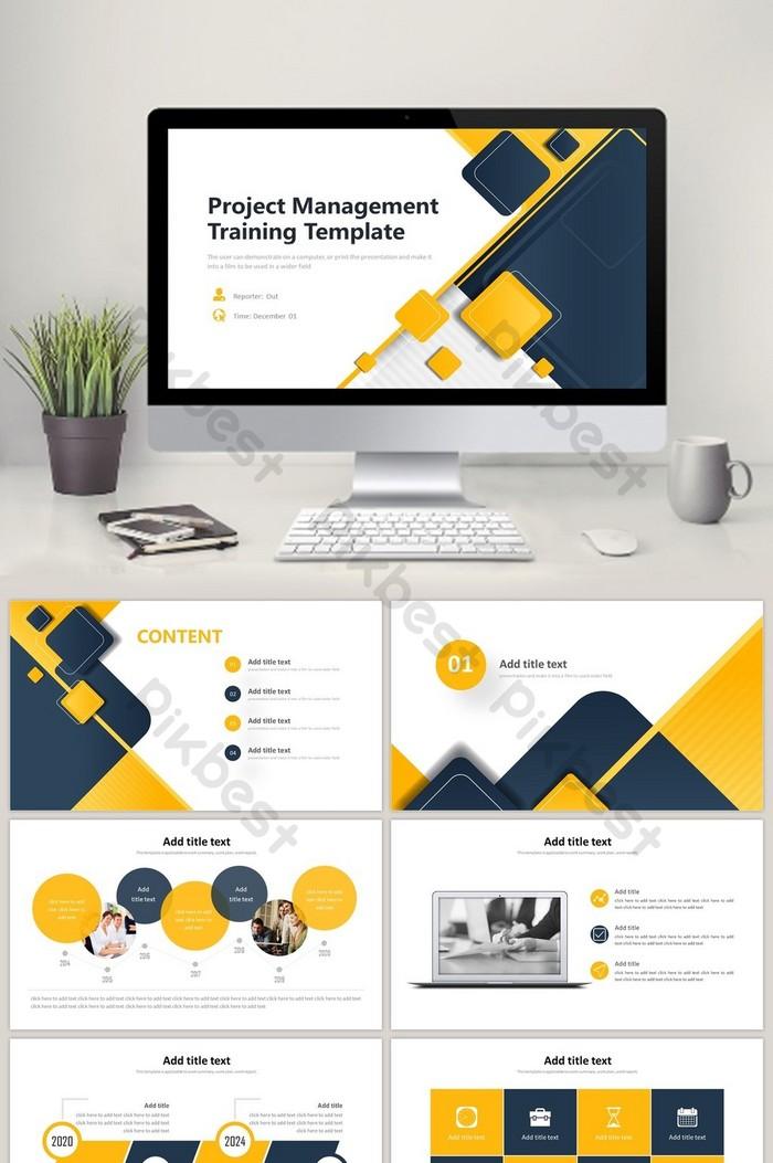 黑黃商務專案管理培訓彙報PPT範本 | PowerPoint素材PPTX免費下載 - Pikbest