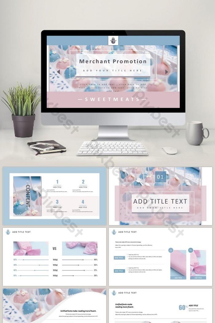 甜美可愛的產品促銷PPT模板  PPTX PowerPoint素材免費下載 - Pikbest