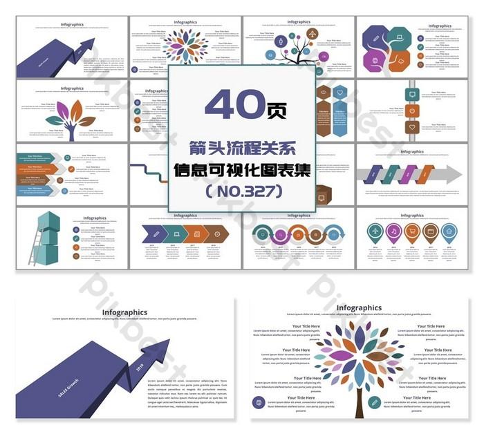40頁箭頭流程關係信息可視化PPT圖表 | PowerPoint素材PPTX免費下載 - Pikbest