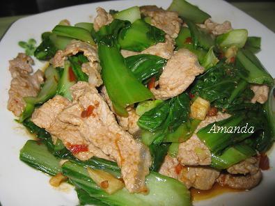 青江菜炒肉片