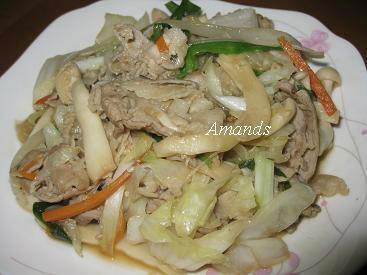 壽喜醬炒五花肉片