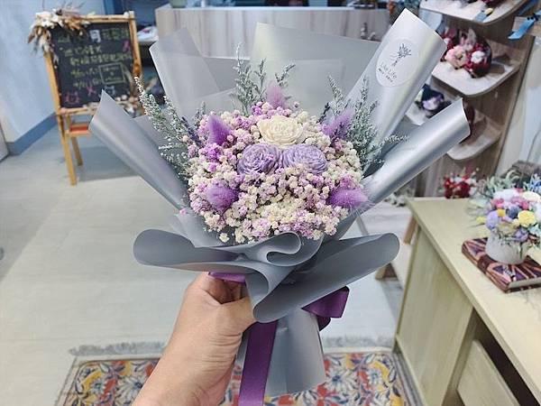 台北質感花店推薦,紫色乾燥花束.JPG