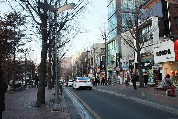 Street with shops near Ewha Womans University